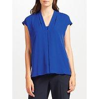 John Lewis Pleat Woven Jersey Top, Blue