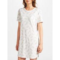John Lewis Amelia Feather Print Short Sleeve T-Shirt Nightdress, Grey/Ivory