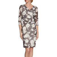 Gina Bacconi 3D Floral Printed Lace Dress, Slate
