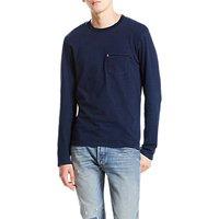 Levis Sunset Pocket Long Sleeve T-Shirt, Dark Indigo/Medium Indigo Stripe
