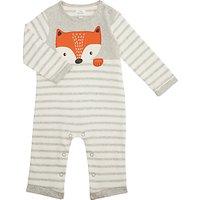 John Lewis Baby Jersey Long Sleeve Fox Romper, Grey