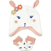 John Lewis Baby Bunny Hat and Glove Set, White