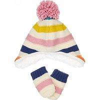 John Lewis Baby Multi Stripe Hat and Glove Set, Multi