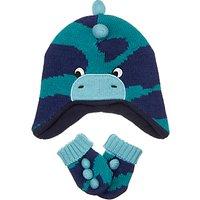 John Lewis Baby Dino Hat and Gloves Set, Green