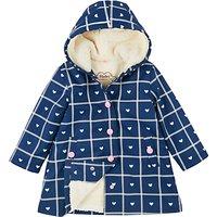 Hatley Girls Sherpa Heart Plaid Splash Jacket, Navy