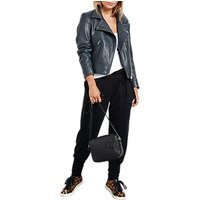 hush Onyx Leather Jacket, Grey