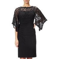Adrianna Papell Kimono Sleeve Lace And Jersey Combo Dress, Black