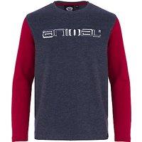 Animal Boys Long Sleeve Logo T-Shirt, Navy/Red