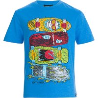 Animal Boys Skateboard Graphic T-Shirt, Blue