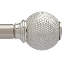 Umbra Knurled Ball Extendable Curtain Pole Kit, Dia.25mm, Satin Nickel