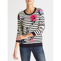 Collection WEEKEND by John Lewis Floral Stripe Intarsia Jumper, Navy/White