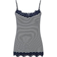 Pure Collection Lace Jersey Camisole, Navy/White
