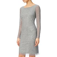 Adrianna Papell Long Sleeve Beaded Cocktail Dress, Blue Mist
