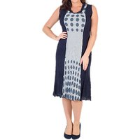 Chesca Spot Trim Crush Pleat Dress, Navy/Ivory