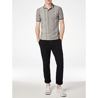 Fred Perry Vertical Stripe Pique Polo Shirt, Steel Marl