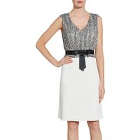 Gina Bacconi Crepe Dress With Itsy Chiffon Bodice, Black/White