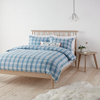 John Lewis Check Brushed Cotton Duvet Cover and Pillowcase Set, Blue