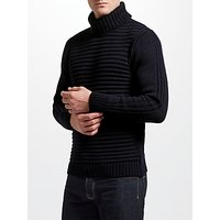 JOHN LEWIS & Co. Made in England Ottoman Roll Neck Jumper, Navy