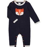 John Lewis Baby Footless Knitted Fox Romper, Blue