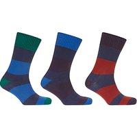 John Lewis Wide Rugby Stripe Socks  Pack of 3  Blue Multi