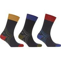 John Lewis Fairisle Heel Socks  Pack of 3  Navy Multi