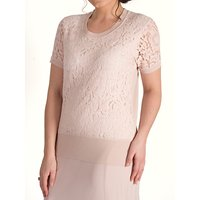 Chesca Corded Lace Trim Cami Jumper, Dark Blush