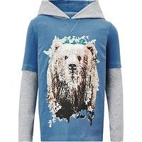 John Lewis Boys Bear Hoodie T-Shirt, Grey/Blue