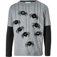 John Lewis Boys Spiders Long Sleeve T-Shirt, Grey