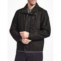 John Lewis Leather Shortie Jacket, Dark Brown