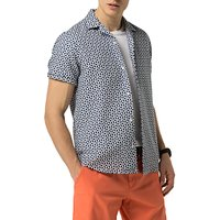 Tommy Hilfiger Yves Print Short Sleeve Shirt, Medieval Blue/Bright White