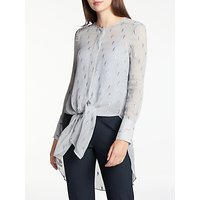 Modern Rarity Silk Clipped Jacquard Blouse, Sky Blue