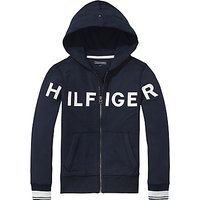 Tommy Hilfiger Boys Letter Zip Through Hoodie, Navy