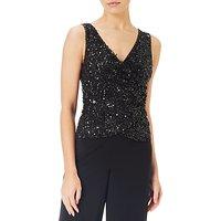 Adrianna Papell Petite Beaded Jersey Jumpsuit, Black