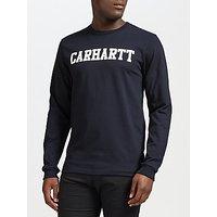 Carhartt WIP Long Sleeve College T-Shirt, Navy/White