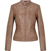 Gerry Weber Leather Biker Jacket, Sepia