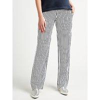 Samsoe & Samsoe Hoys Straight Leg Stripe Trousers, Dark Blue Stripe