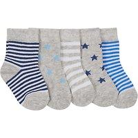 John Lewis Baby Stripe & Star Socks, Pack of 5, Grey