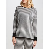 John Lewis Lightweight Stripe Lounge Top, Grey/Ivory