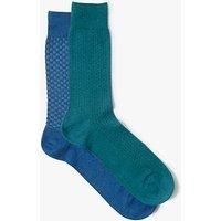 John Lewis Weave Socks, Pack of 2, Multi