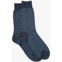 John Lewis Merino Tile Socks, Pack of 2, Navy