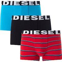 Diesel Shawn Stripe Plain Trunks, Pack of 3, Blue/Black/Red