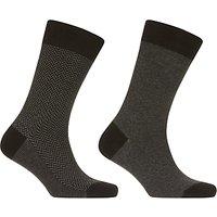 John Lewis Made in Italy Egyptian Cotton Herringbone Stripe Socks, Pack of 2, Grey