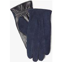 John Lewis Fleece Lined Nubuck Leather Gloves, Navy/Black