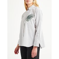 Marella Magma Embroidered Stripe Shirt, White/Grey