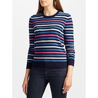 Collection WEEKEND by John Lewis Fine Stripe Cashmere Jumper, Navy/Pink