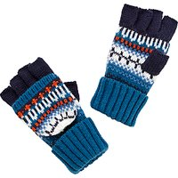 John Lewis Childrens Fair Isle Flip Gloves, Navy