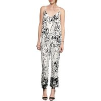 French Connection Copley Crepe Floral Print Jumpsuit, Summer White/Black