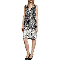French Connection Copley Crepe V-Neck Tunic Dress, Black/Summer White