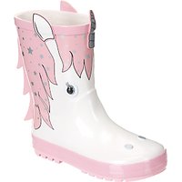 John Lewis & Partners Children's 3D Unicorn Wellington Boots, Pink/White