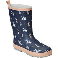 John Lewis Childrens Bunny Rabbit Wellington Boots, Navy